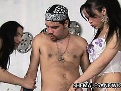 Shemale Three-Way At Body Shop