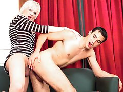 Blonde Latin shemale getting it on with her studly man !