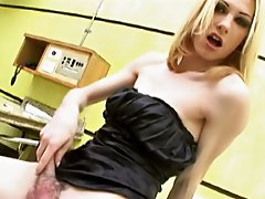 Sexy Blonde Tranny Arouses The Cameraman While She Jerks Off