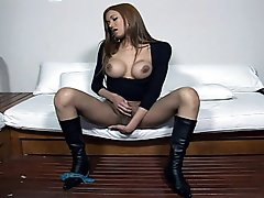 Busty and stupid whore gets pounded by nasty outcast tranny