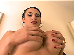 Slutty shemale Rabeche Rayala strokes her huge dick for fun.
