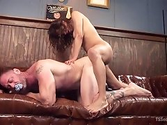 Sexy tranny Jessy bends her man over and rams his tight asshole so hard. She...